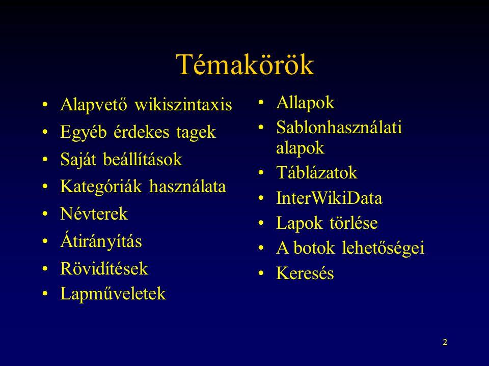 2 Témakörök Alapvető wikiszintaxis Egyéb érdekes tagek Saját beállítások Kategóriák használata Névterek Átirányítás Rövidítések Lapműveletek Allapok S