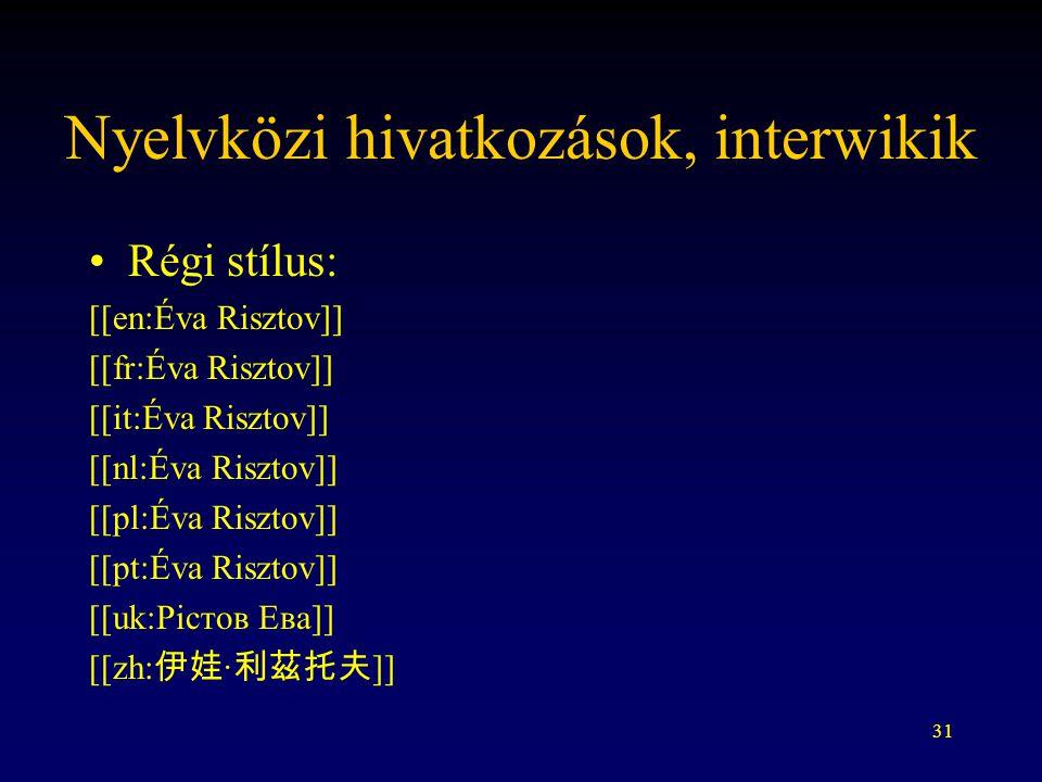 31 Nyelvközi hivatkozások, interwikik Régi stílus: [[en:Éva Risztov]] [[fr:Éva Risztov]] [[it:Éva Risztov]] [[nl:Éva Risztov]] [[pl:Éva Risztov]] [[pt:Éva Risztov]] [[uk:Рістов Ева]] [[zh: 伊娃 · 利茲托夫 ]]