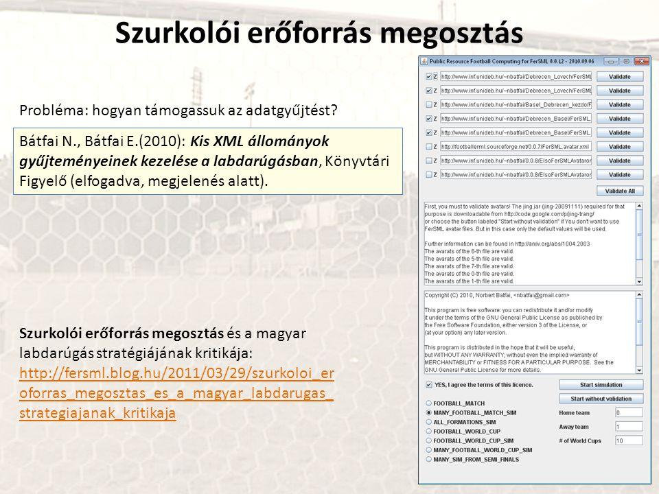 Szurkolói erőforrás megosztás Bátfai N., Bátfai E.(2010): Kis XML állományok gyűjteményeinek kezelése a labdarúgásban, Könyvtári Figyelő (elfogadva, megjelenés alatt).