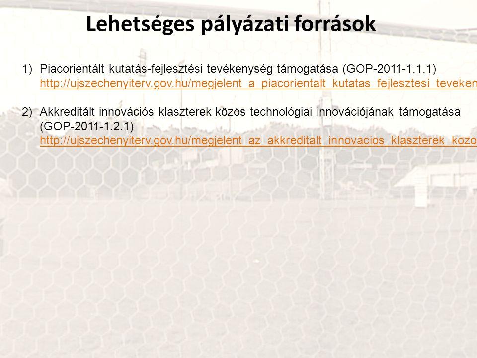 Lehetséges pályázati források 1)Piacorientált kutatás-fejlesztési tevékenység támogatása (GOP-2011-1.1.1) http://ujszechenyiterv.gov.hu/megjelent_a_pi