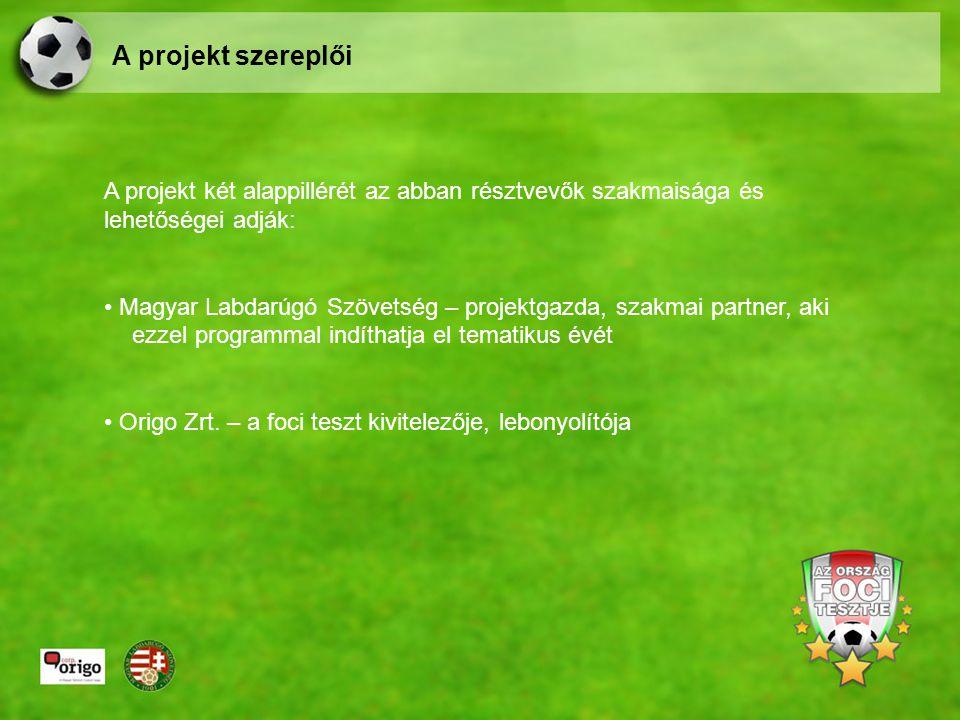 A projekt két alappillérét az abban résztvevők szakmaisága és lehetőségei adják: Magyar Labdarúgó Szövetség – projektgazda, szakmai partner, aki ezzel programmal indíthatja el tematikus évét Origo Zrt.