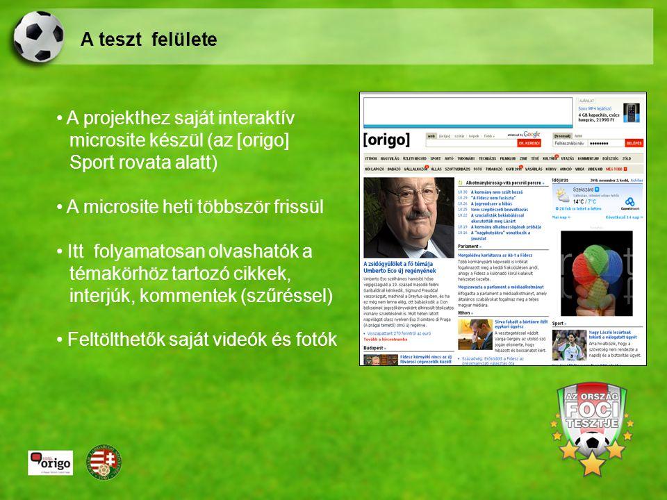 A projekthez saját interaktív microsite készül (az [origo] Sport rovata alatt) A microsite heti többször frissül Itt folyamatosan olvashatók a témakörhöz tartozó cikkek, interjúk, kommentek (szűréssel) Feltölthetők saját videók és fotók A teszt felülete