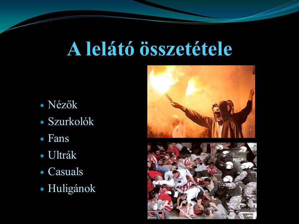 A lelátó összetétele Nézők Szurkolók Fans Ultrák Casuals Huligánok