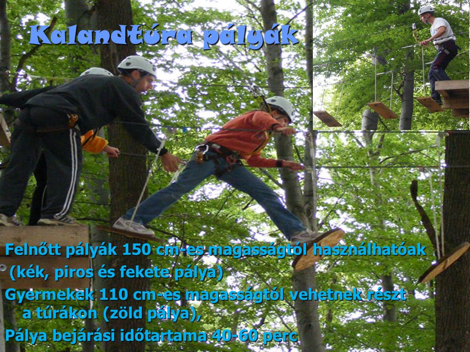Kalandtúra pályák Felnőtt pályák 150 cm-es magasságtól használhatóak (kék, piros és fekete pálya) (kék, piros és fekete pálya) Gyermekek 110 cm-es magasságtól vehetnek részt a túrákon (zöld pálya), Pálya bejárási időtartama 40-60 perc