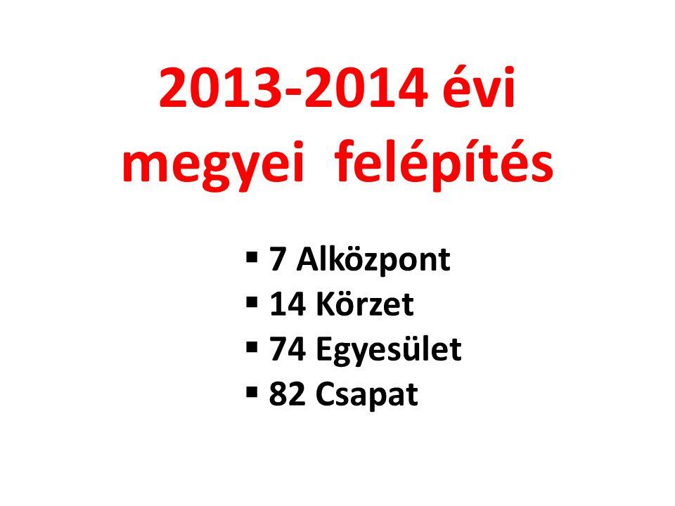  7 Alközpont  14 Körzet  74 Egyesület  82 Csapat 2013-2014 évi megyei felépítés