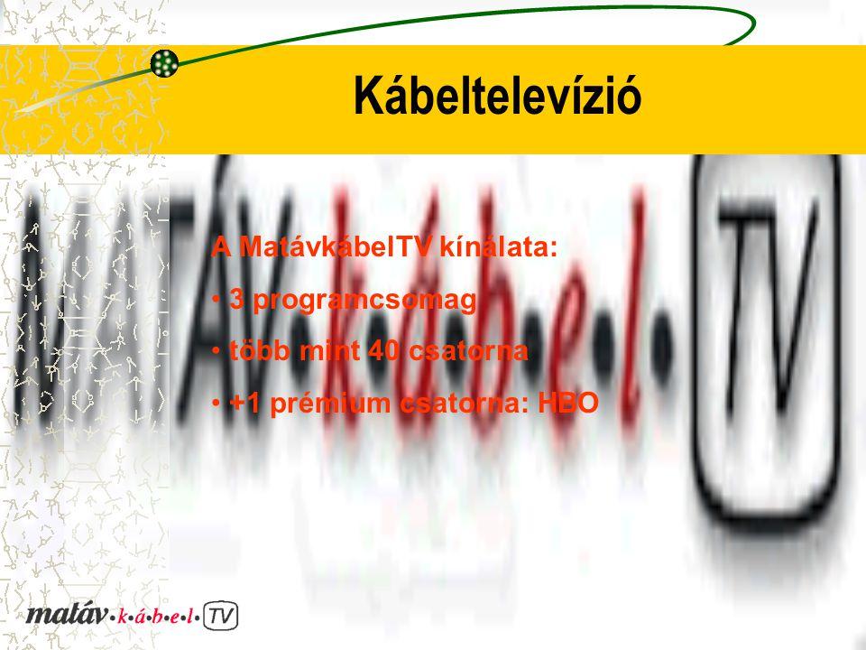 Kábeltelevízió A MatávkábelTV kínálata: 3 programcsomag több mint 40 csatorna +1 prémium csatorna: HBO