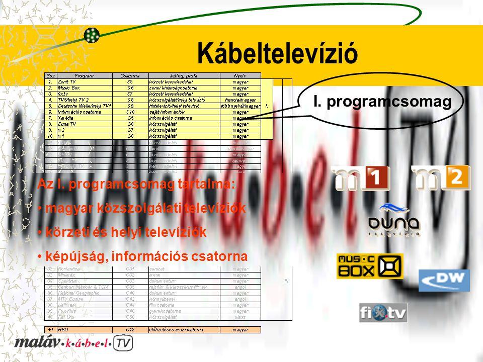 Kábeltelevízió I. programcsomag Az I. programcsomag tartalma: magyar közszolgálati televíziók körzeti és helyi televíziók képújság, információs csator
