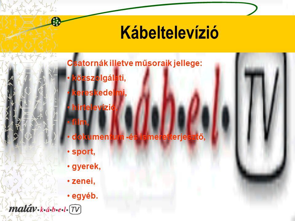 Kábeltelevízió Csatornák illetve műsoraik jellege: közszolgálati, kereskedelmi, hírtelevízió, film, dokumentum -és ismeretterjesztő, sport, gyerek, ze