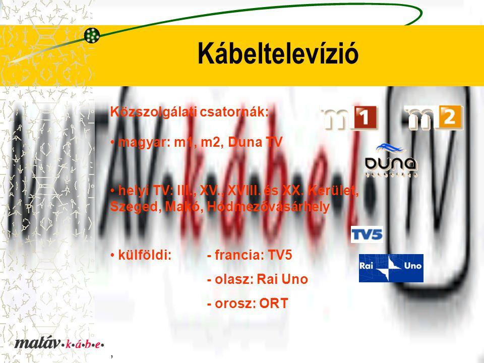 Kábeltelevízió Közszolgálati csatornák: magyar: m1, m2, Duna TV helyi TV: III., XV., XVIII. és XX. Kerület, Szeged, Makó, Hódmezővásárhely külföldi: -
