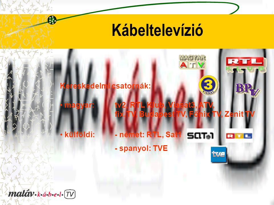 Kábeltelevízió Kereskedelmi csatornák: magyar: tv2, RTL Klub, Viasat3, ATV, fix.TV, Budapest TV, Főnix TV, Zenit TV külföldi: - német: RTL, Sat1 - spanyol: TVE