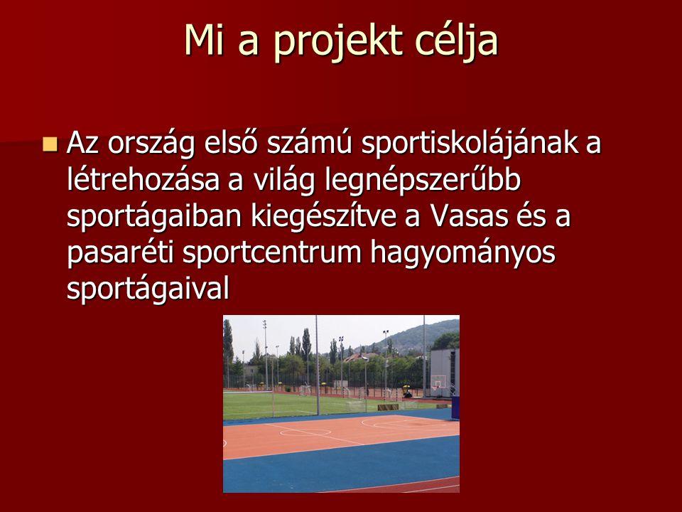 Mi a projekt célja Az ország első számú sportiskolájának a létrehozása a világ legnépszerűbb sportágaiban kiegészítve a Vasas és a pasaréti sportcentrum hagyományos sportágaival Az ország első számú sportiskolájának a létrehozása a világ legnépszerűbb sportágaiban kiegészítve a Vasas és a pasaréti sportcentrum hagyományos sportágaival