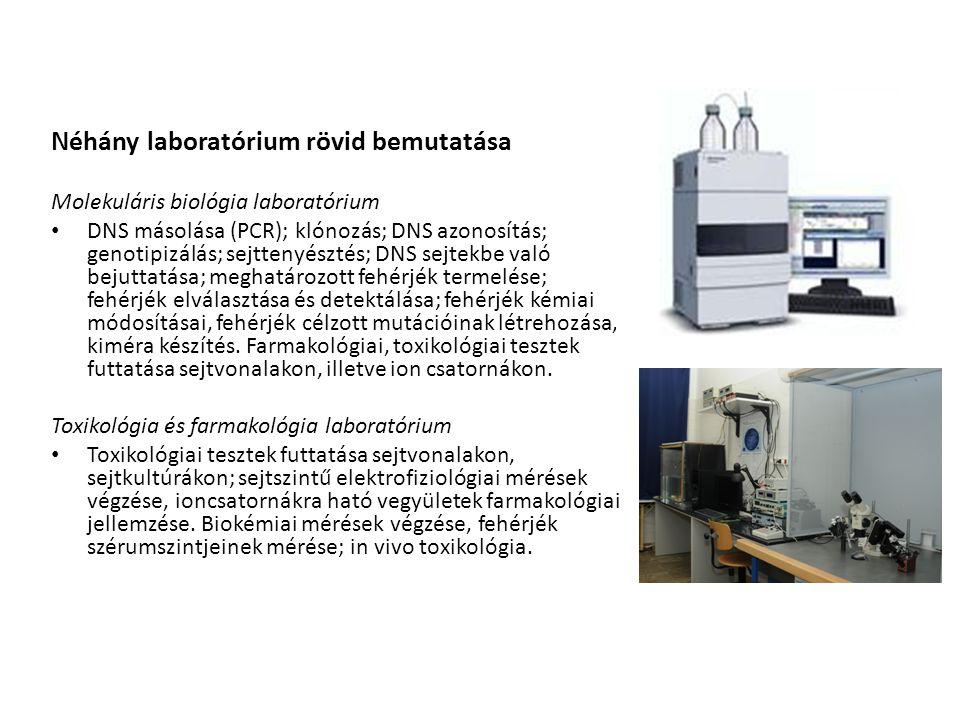 Néhány laboratórium rövid bemutatása Molekuláris biológia laboratórium DNS másolása (PCR); klónozás; DNS azonosítás; genotipizálás; sejttenyésztés; DN