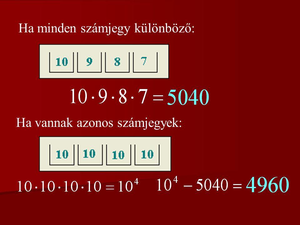 4. feladat Régen Magyarországon a rendszámtáblák 2 betűből és 4 számjegyből álltak.
