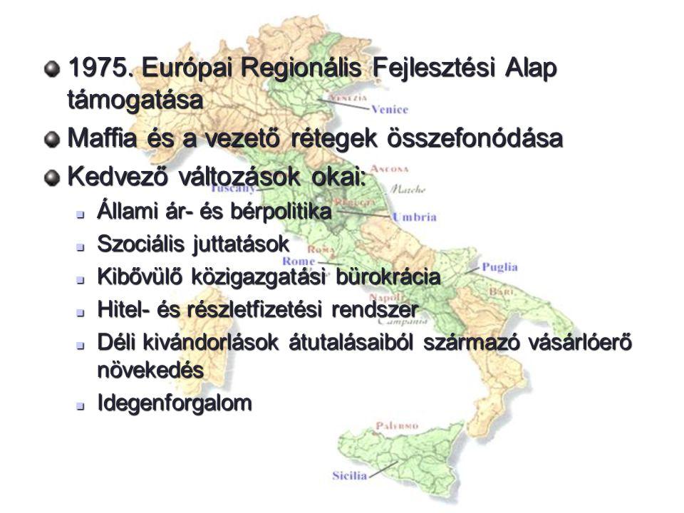 1975. Európai Regionális Fejlesztési Alap támogatása Maffia és a vezető rétegek összefonódása Kedvező változások okai: Állami ár- és bérpolitika Állam