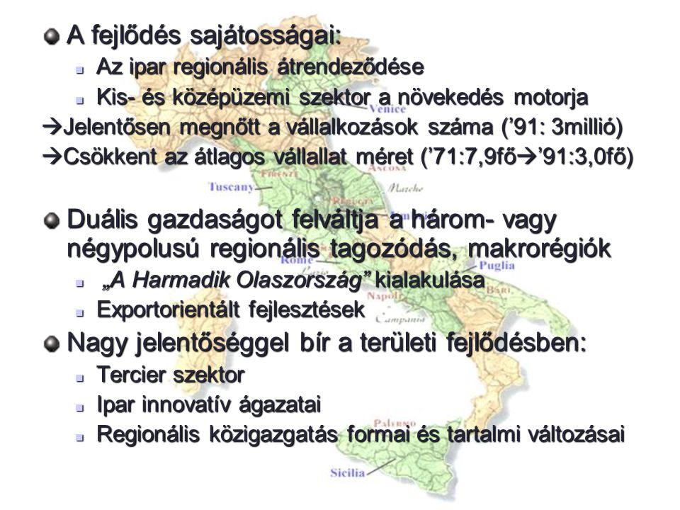 A fejlődés sajátosságai: Az ipar regionális átrendeződése Az ipar regionális átrendeződése Kis- és középüzemi szektor a növekedés motorja Kis- és közé