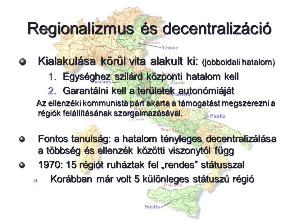 Regionalizmus és decentralizáció Kialakulása körül vita alakult ki: (jobboldali hatalom) 1.Egységhez szilárd központi hatalom kell 2.Garantálni kell a