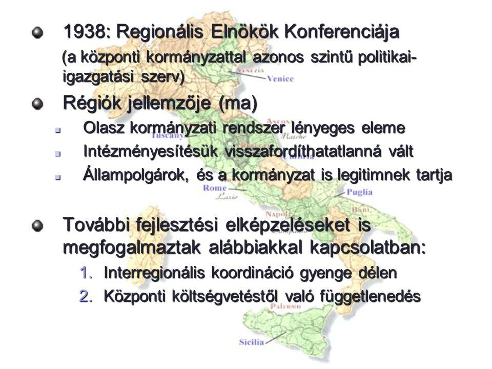 1938: Regionális Elnökök Konferenciája (a központi kormányzattal azonos szintű politikai- igazgatási szerv) (a központi kormányzattal azonos szintű po