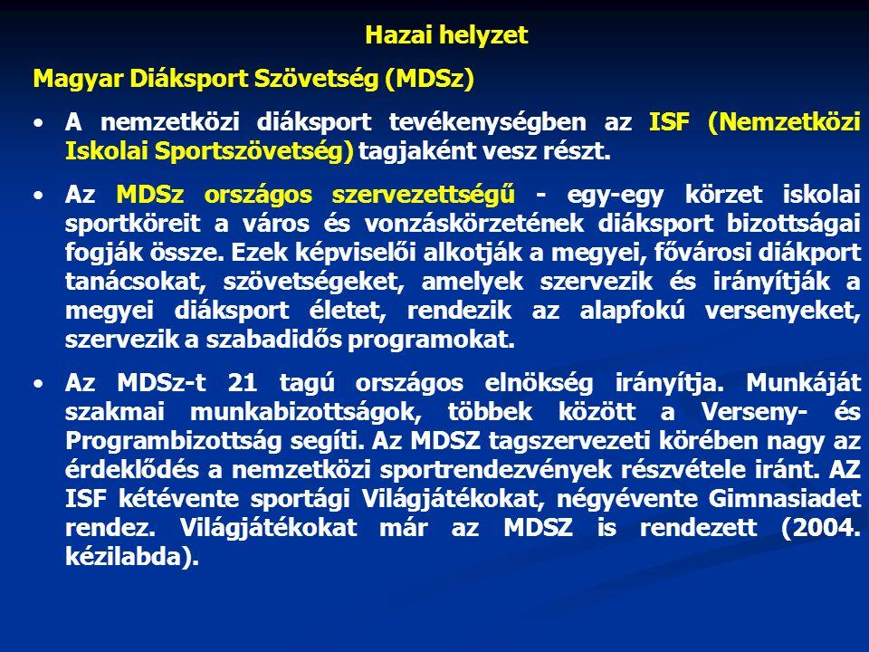 Hazai helyzet Magyar Diáksport Szövetség (MDSz) A nemzetközi diáksport tevékenységben az ISF (Nemzetközi Iskolai Sportszövetség) tagjaként vesz részt.