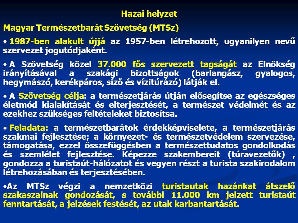 Hazai helyzet Magyar Természetbarát Szövetség (MTSz) 1987-ben alakult újjá az 1957-ben létrehozott, ugyanilyen nevű szervezet jogutódjaként.