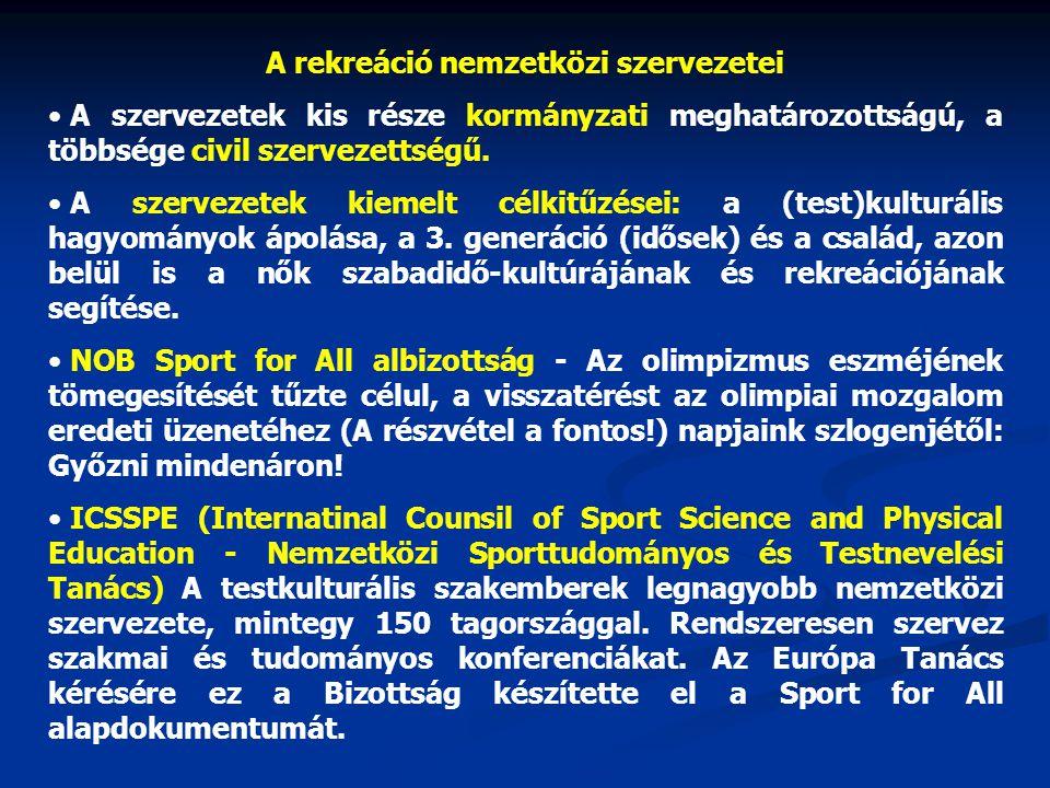 A rekreáció nemzetközi szervezetei A szervezetek kis része kormányzati meghatározottságú, a többsége civil szervezettségű.