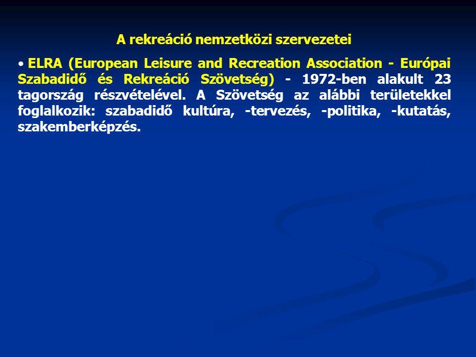 A rekreáció nemzetközi szervezetei ELRA (European Leisure and Recreation Association - Európai Szabadidő és Rekreáció Szövetség) - 1972-ben alakult 23 tagország részvételével.
