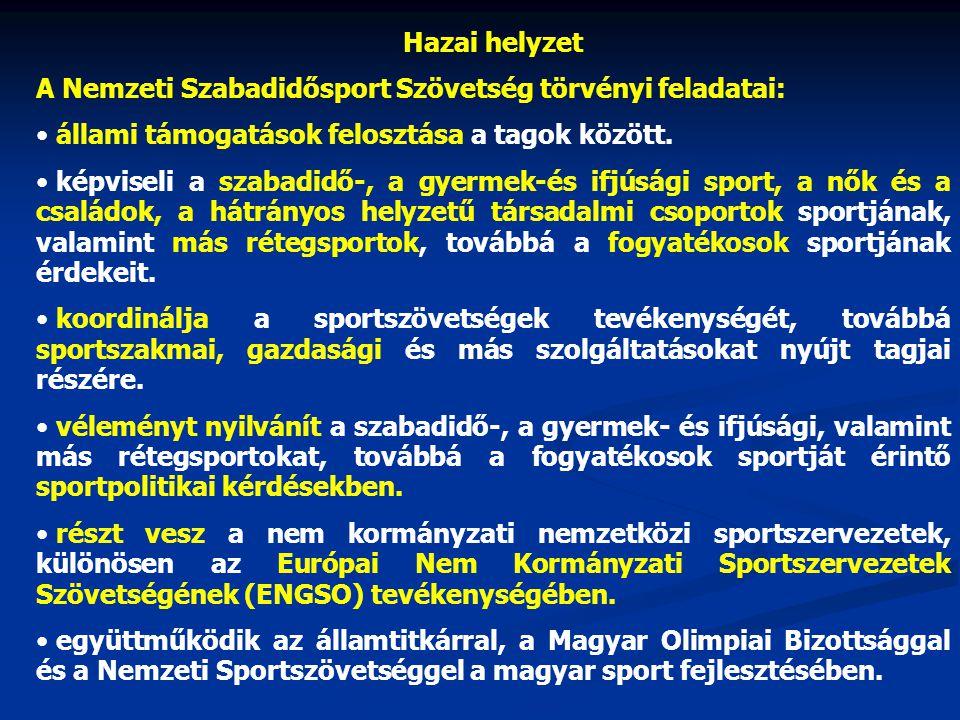 Hazai helyzet Fogyatékosok Nemzeti Sportszövetsége (FoNeSz) 2001.