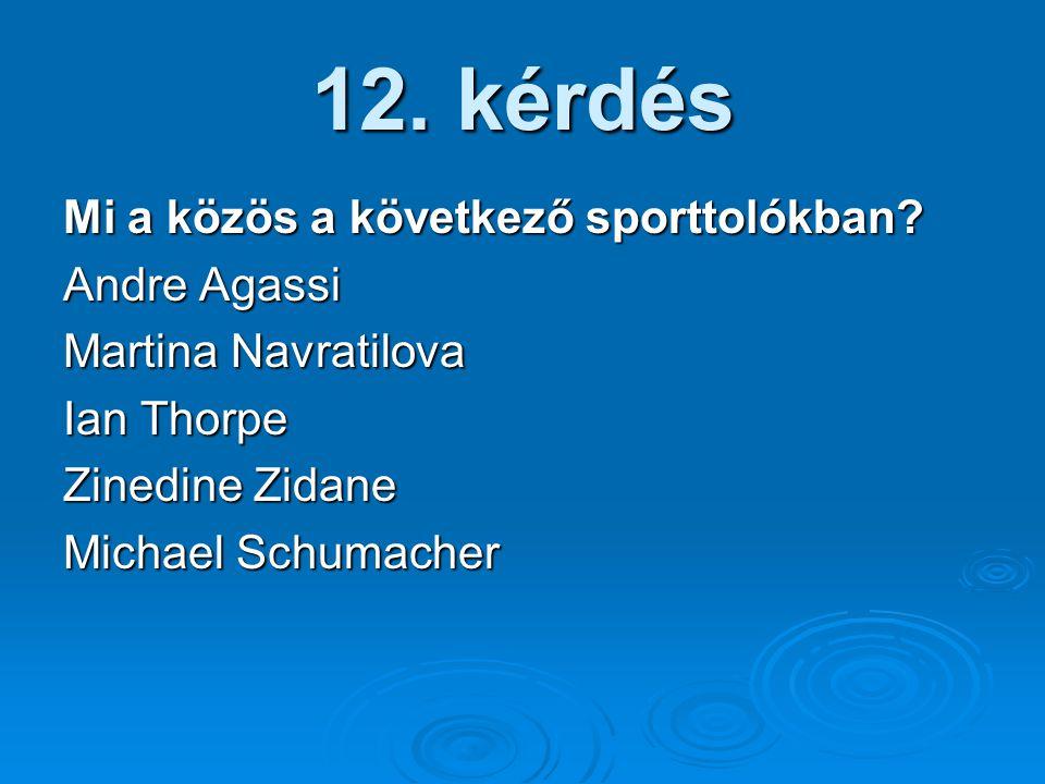 12. kérdés Mi a közös a következő sporttolókban? Andre Agassi Martina Navratilova Ian Thorpe Zinedine Zidane Michael Schumacher