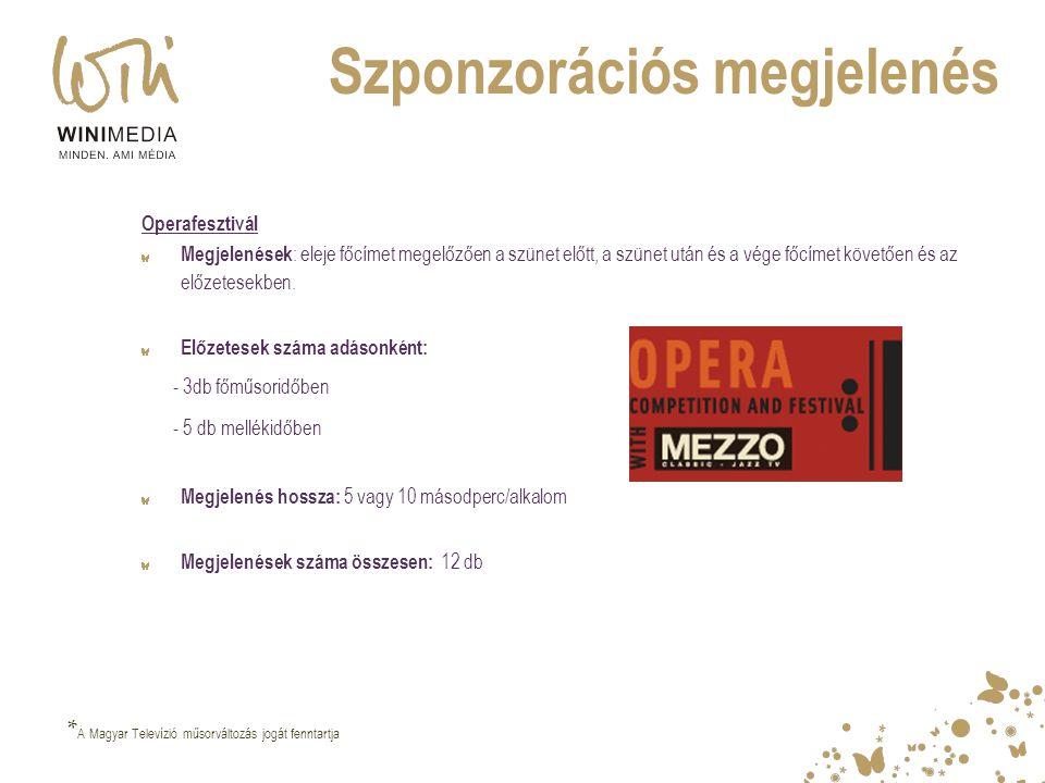 Szponzorációs megjelenés Operafesztivál Megjelenések : eleje főcímet megelőzően a szünet előtt, a szünet után és a vége főcímet követően és az előzete
