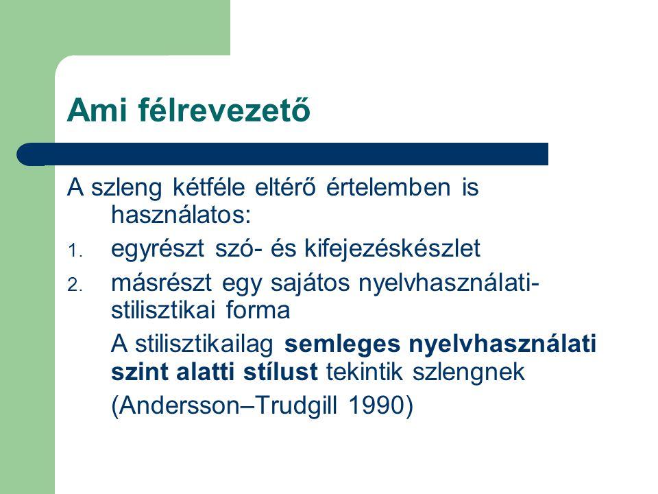 Ami félrevezető A szleng kétféle eltérő értelemben is használatos: 1. egyrészt szó- és kifejezéskészlet 2. másrészt egy sajátos nyelvhasználati- stili