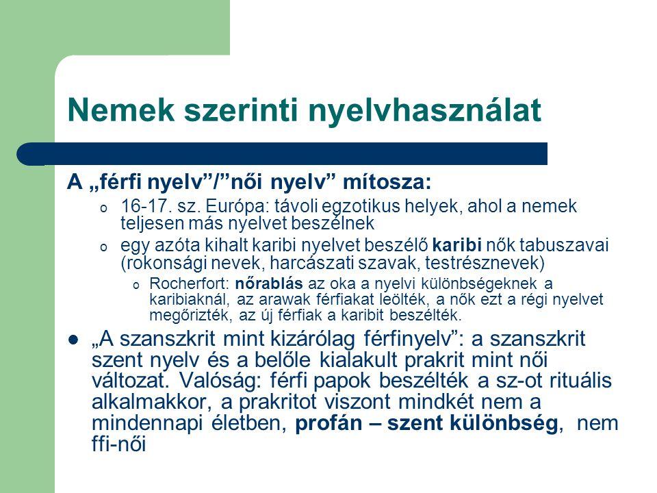 """Nemek szerinti nyelvhasználat A """"férfi nyelv""""/""""női nyelv"""" mítosza: o 16-17. sz. Európa: távoli egzotikus helyek, ahol a nemek teljesen más nyelvet bes"""