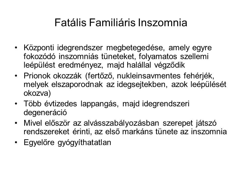 Fatális Familiáris Inszomnia Központi idegrendszer megbetegedése, amely egyre fokozódó inszomniás tüneteket, folyamatos szellemi leépülést eredményez,