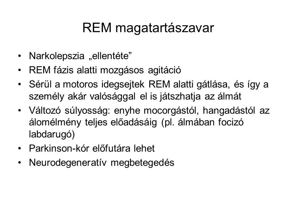 """REM magatartászavar Narkolepszia """"ellentéte"""" REM fázis alatti mozgásos agitáció Sérül a motoros idegsejtek REM alatti gátlása, és így a személy akár v"""