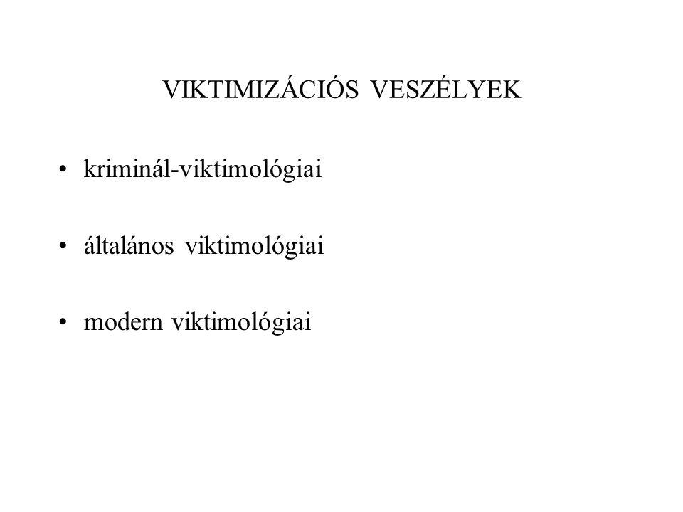 VIKTIMIZÁCIÓS VESZÉLYEK kriminál-viktimológiai általános viktimológiai modern viktimológiai
