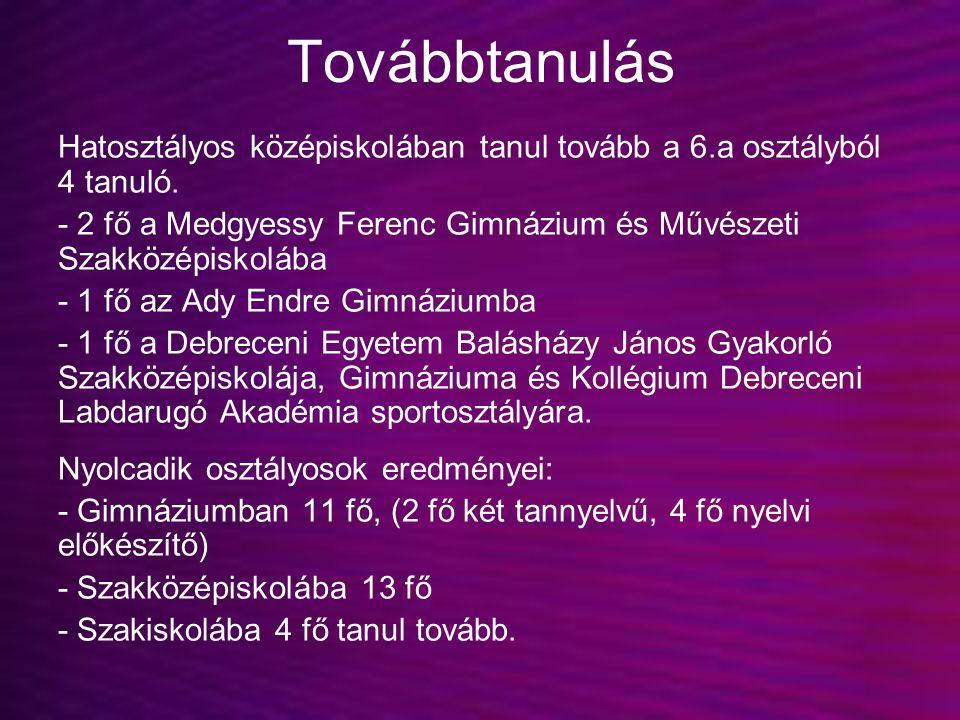 Továbbtanulás Hatosztályos középiskolában tanul tovább a 6.a osztályból 4 tanuló. - 2 fő a Medgyessy Ferenc Gimnázium és Művészeti Szakközépiskolába -