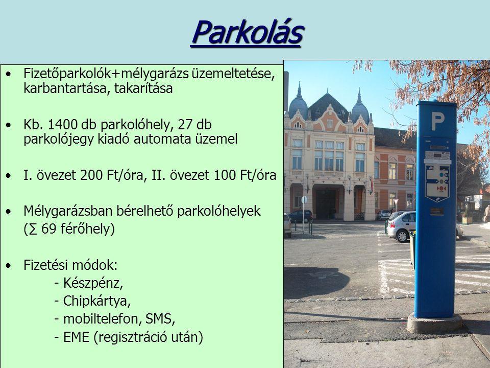 Parkolás Fizetőparkolók+mélygarázs üzemeltetése, karbantartása, takarítása Kb.