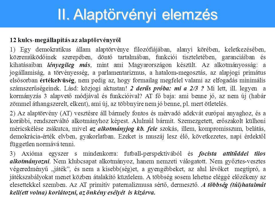 II. Alaptörvényi elemzés 12 kulcs-megállapítás az alaptörvényről 1) Egy demokratikus állam alaptörvénye filozófiájában, alanyi körében, keletkezésében