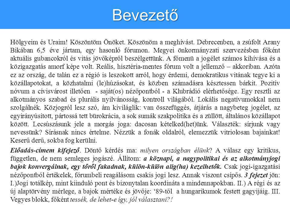 Bevezető Hölgyeim és Uraim! Köszöntöm Önöket. Köszönöm a meghívást. Debrecenben, a zsúfolt Arany Bikában 6,5 éve jártam, egy hasonló fórumon. Megyei ö