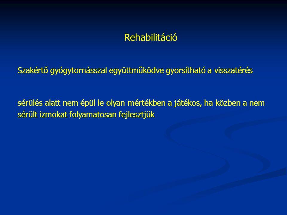 Rehabilitáció Szakértő gyógytornásszal együttműködve gyorsítható a visszatérés sérülés alatt nem épül le olyan mértékben a játékos, ha közben a nem sérült izmokat folyamatosan fejlesztjük