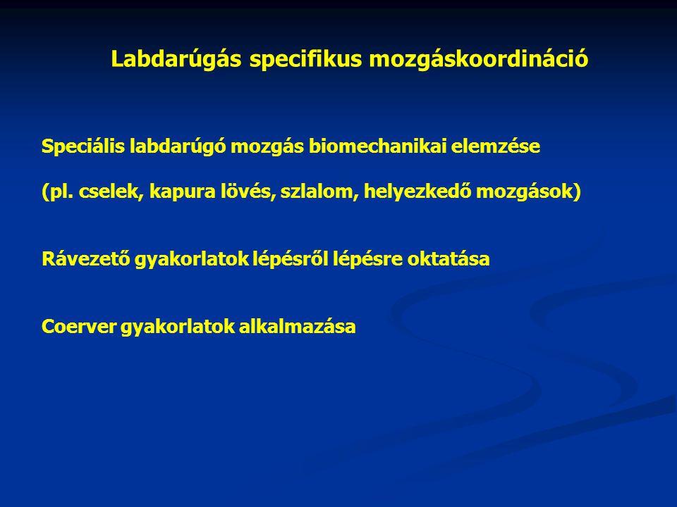 Labdarúgás specifikus mozgáskoordináció Speciális labdarúgó mozgás biomechanikai elemzése (pl. cselek, kapura lövés, szlalom, helyezkedő mozgások) Ráv