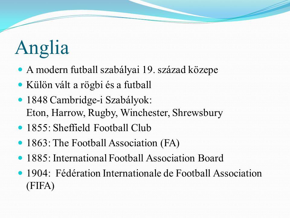 Anglia A modern futball szabályai 19. század közepe Külön vált a rögbi és a futball 1848 Cambridge-i Szabályok: Eton, Harrow, Rugby, Winchester, Shrew