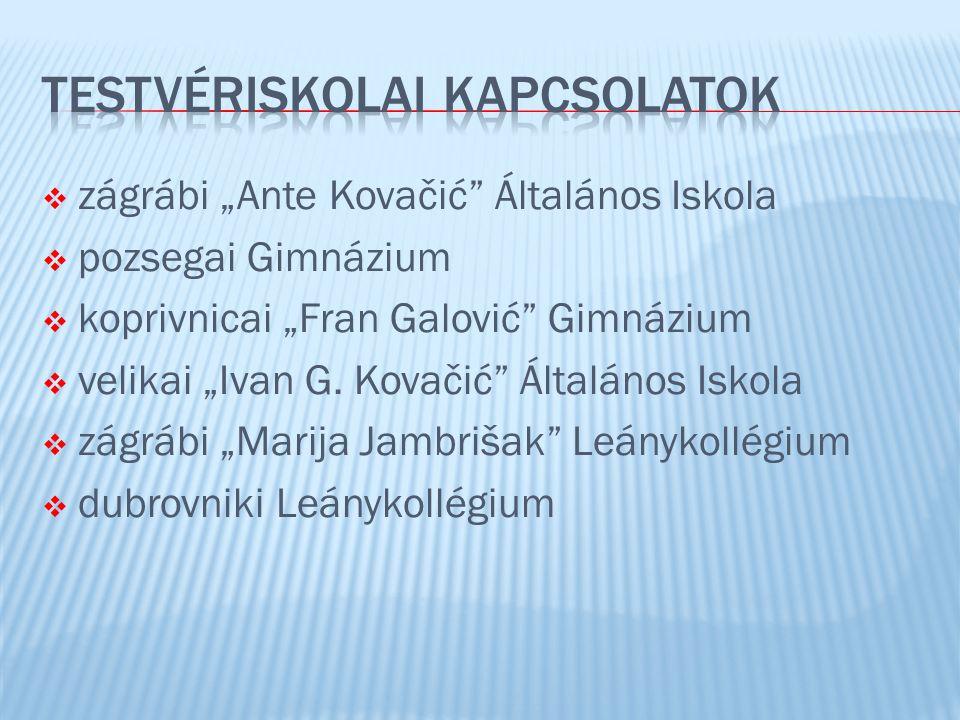 " zágrábi ""Ante Kovačić Általános Iskola  pozsegai Gimnázium  koprivnicai ""Fran Galović Gimnázium  velikai ""Ivan G."