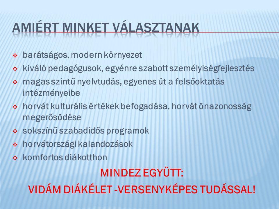  barátságos, modern környezet  kiváló pedagógusok, egyénre szabott személyiségfejlesztés  magas szintű nyelvtudás, egyenes út a felsőoktatás intézményeibe  horvát kulturális értékek befogadása, horvát önazonosság megerősödése  sokszínű szabadidős programok  horvátországi kalandozások  komfortos diákotthon MINDEZ EGYÜTT: VIDÁM DIÁKÉLET -VERSENYKÉPES TUDÁSSAL!