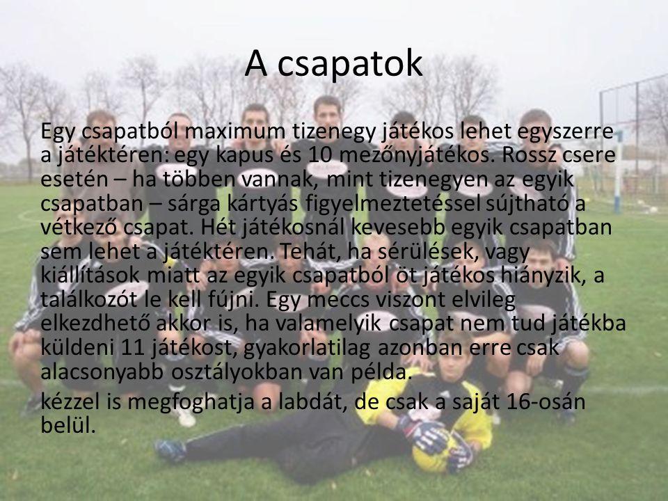 A csapatok Egy csapatból maximum tizenegy játékos lehet egyszerre a játéktéren: egy kapus és 10 mezőnyjátékos.