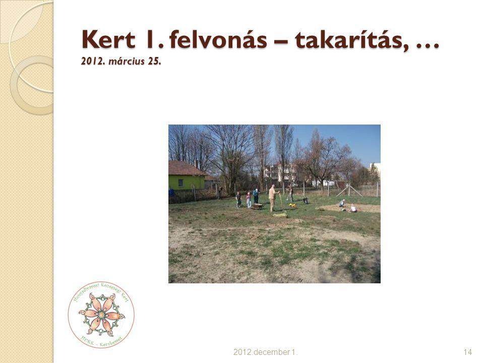 Kert 1. felvonás – takarítás, … 2012. március 25. 2012.december 1.14