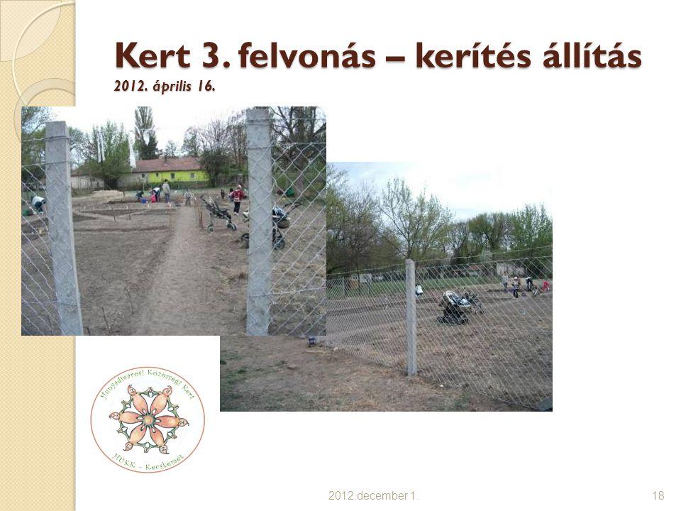 Kert 3. felvonás – kerítés állítás 2012. április 16. 2012.december 1.18