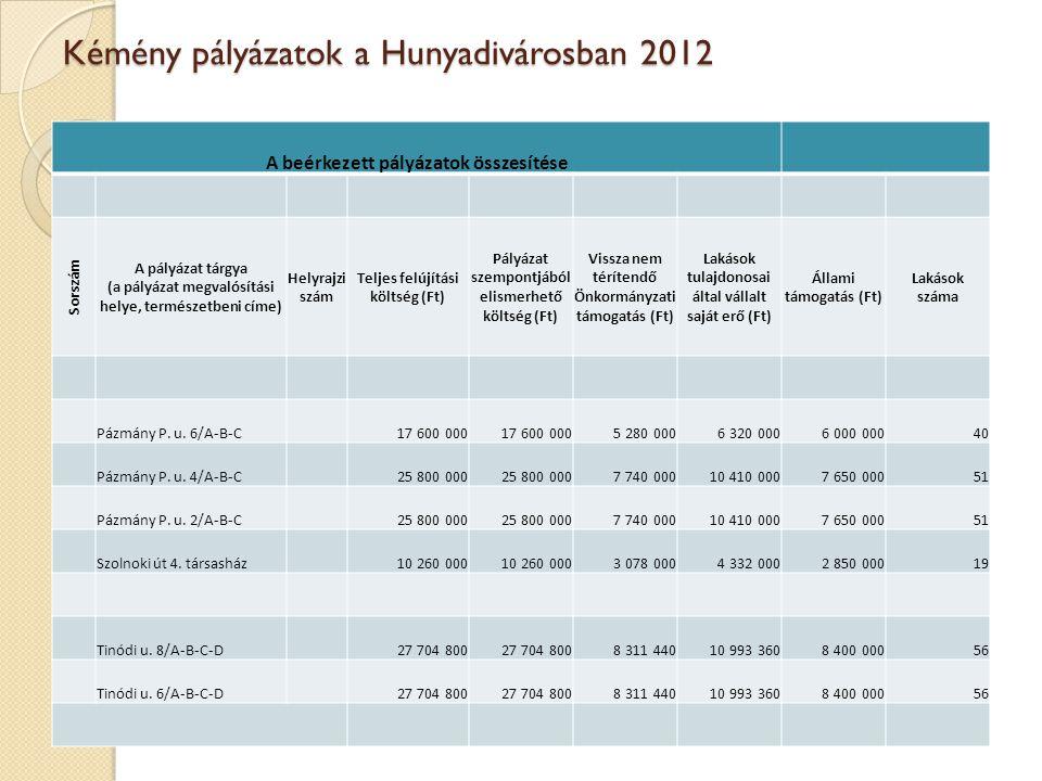 Kémény pályázatok a Hunyadivárosban 2012 A beérkezett pályázatok összesítése Sorszám A pályázat tárgya (a pályázat megvalósítási helye, természetbeni