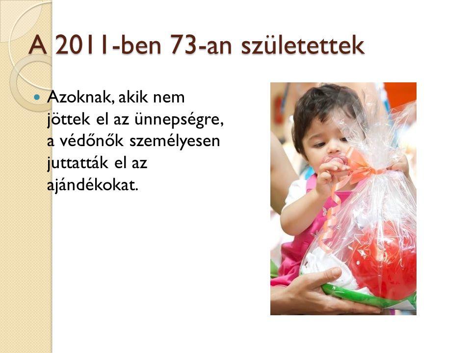 A 2011-ben 73-an születettek Azoknak, akik nem jöttek el az ünnepségre, a védőnők személyesen juttatták el az ajándékokat.