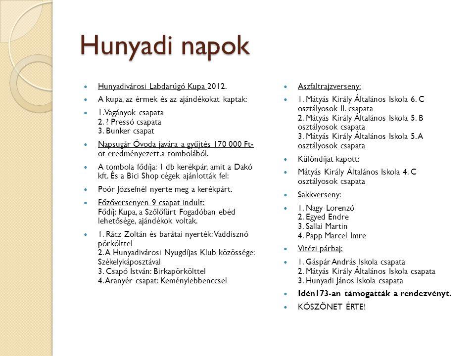 Hunyadi napok Hunyadivárosi Labdarúgó Kupa 2012. A kupa, az érmek és az ajándékokat kaptak: 1. Vagányok csapata 2. ? Pressó csapata 3. Bunker csapat N