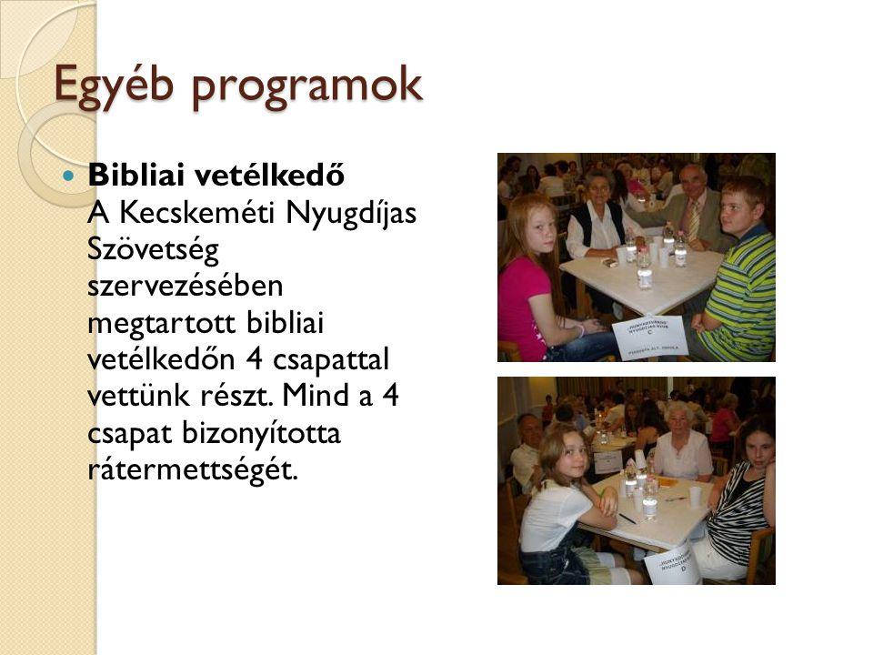 Egyéb programok Bibliai vetélkedő A Kecskeméti Nyugdíjas Szövetség szervezésében megtartott bibliai vetélkedőn 4 csapattal vettünk részt. Mind a 4 csa