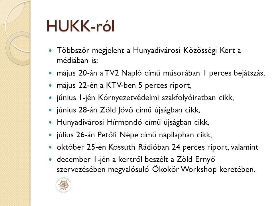 HUKK-ról Többször megjelent a Hunyadivárosi Közösségi Kert a médiában is: május 20-án a TV2 Napló című műsorában 1 perces bejátszás, május 22-én a KTV